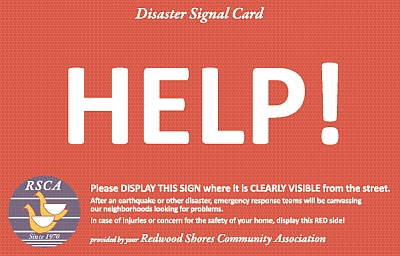Redwood Shores Disaster Signal Card example